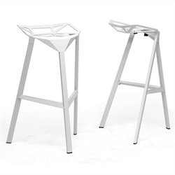 Kaysa Bar Stool in White (Set of 2)