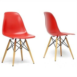 Azzo Shell Dining Chair in Red (Set of 2)