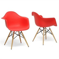 Pascal Shell Dining Chair in Red (Set of 2)