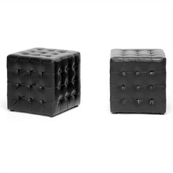 Siskal Cube Ottoman in Black (Set of 2)
