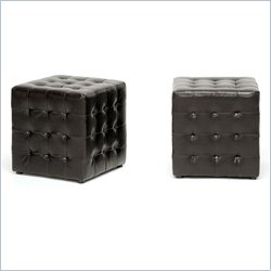 Siskal Cube Ottoman in Dark Brown (Set of 2)