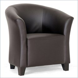 Faux Leather Club Barrel Chair in Brown