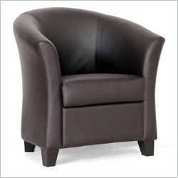 Faux Leather Barrel Club Chair in Brown