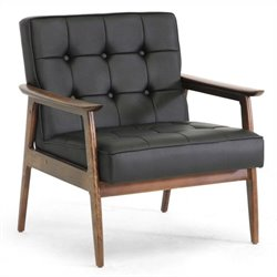 Stratham Faux Leather Club Chair in Black