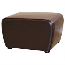 Leather Ottoman in Dark Brown
