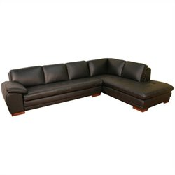 Leather Sectional in Black