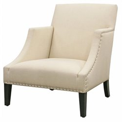 Fabric Swayback Club Arm Chair in Ivory
