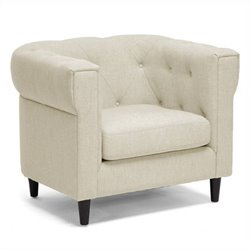 Tufted Fabric Club Arm Chair in Beige