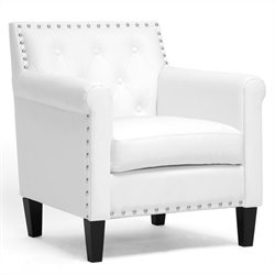 Thalassa Tufted Faux Leather Club Chair in White