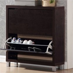 Simms Shoe Cabinet in Dark Brown