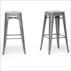 French Industrial Bar Stool in Gunmetal (Set of 2)