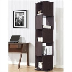 Ogden 5-level Rotating Bookshelf in Dark Brown