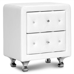 Stella Tufted Nightstand in White