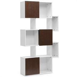 Harriette Bookshelf in White and Walnut