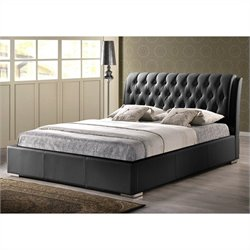 Bianca Queen Platform Bed with Tufted Headboard in Black