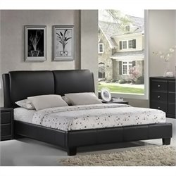 Sabrina Leather Full Platform Bed in Black