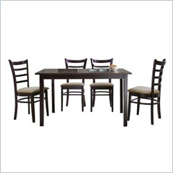 Lanark 5 Piece Dining Set in Dark Brown