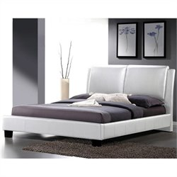 Full Platform Bed with Overstuffed Headboard in White
