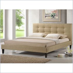 Quincy King Platform Bed in Dark Beige