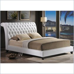 Jazmin Tufted Leather Platform Bed in White