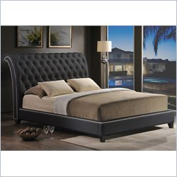 Jazmin Tufted Leather Platform Bed in Black