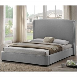 Sheila Platform Bed with Upholstered Headboard in Grey