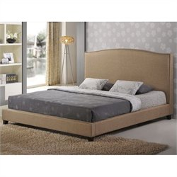 Aisling Platform Bed in Dark Beige