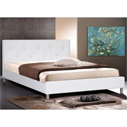 Barbara Leather Tufted Queen Platform Bed in White