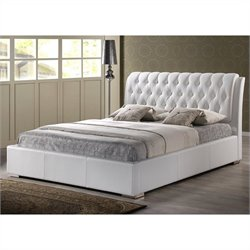 Bianca Queen Platform Bed with Tufted Headboard in White