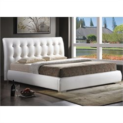 Jeslyn King Platform Bed with Tufted Headboard in White