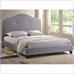 Marsha Scalloped Queen Platform Bed with Upholstered Headboard in Gray
