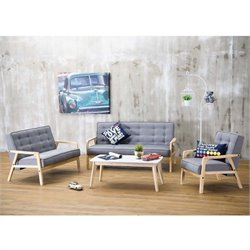 Mid-Century 3 Piece Fabric Sofa Set in Gray
