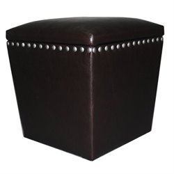 Leather Storage Ottoman in Espresso