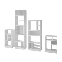 Manhattan Comfort Valenca 4 Piece Bookcase Set in White