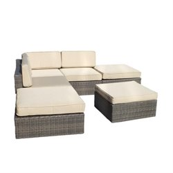 Manhattan Comfort Robinson 6 Piece Rattan Outdoor Sectional Sofa Set