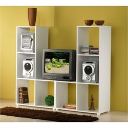 Manhattan Comfort Lagarto L-Shaped Audio Rack in White