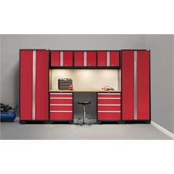 NewAge Products Bold Series 8 Piece Cabinet Set in Red