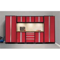 NewAge Products Bold 3.0 Series 9 Piece Cabinet Set with Bamboo worktop