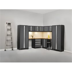 NewAge Products Bold Series 12 Piece Corner Cabinet Set in Gray