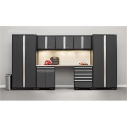 Pro Series 8 Piece Garage Cabinet Set in Gray