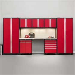 Pro Series 8 Piece Garage Cabinet Set in Red