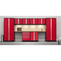 Pro Series 10 Piece Garage Cabinet Set in Red