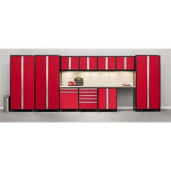 Pro Series 12 Piece Garage Cabinet Set in Red