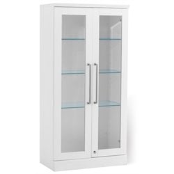 NewAge Home Bar Wall Curio Cabinet in White