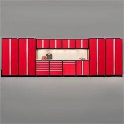 Pro Series 14 Piece Garage Cabinet Set in Red