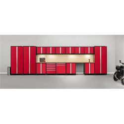 Pro Series 16 Piece Garage Cabinet Set in Red