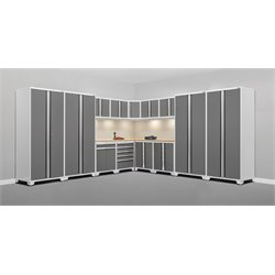 Pro Series 15 Piece Garage Corner Cabinet Set in White