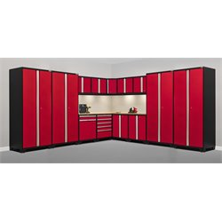 Pro Series 15 Piece Garage Corner Cabinet Set in Red