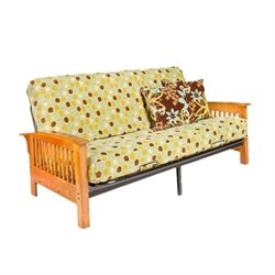 Night and Day Arbor Full Wood and Metal Futon in Honey Oak