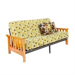 Night and Day Boca Full Wood and Metal Futon in Honey Oak